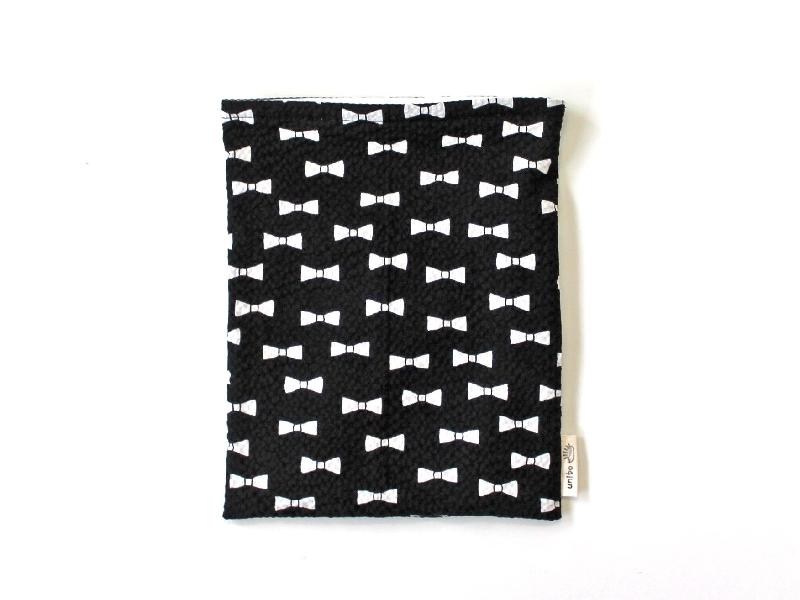 ハリネズミ用寝袋 M(夏用) 綿リップル×スムースニット リボン ブラック