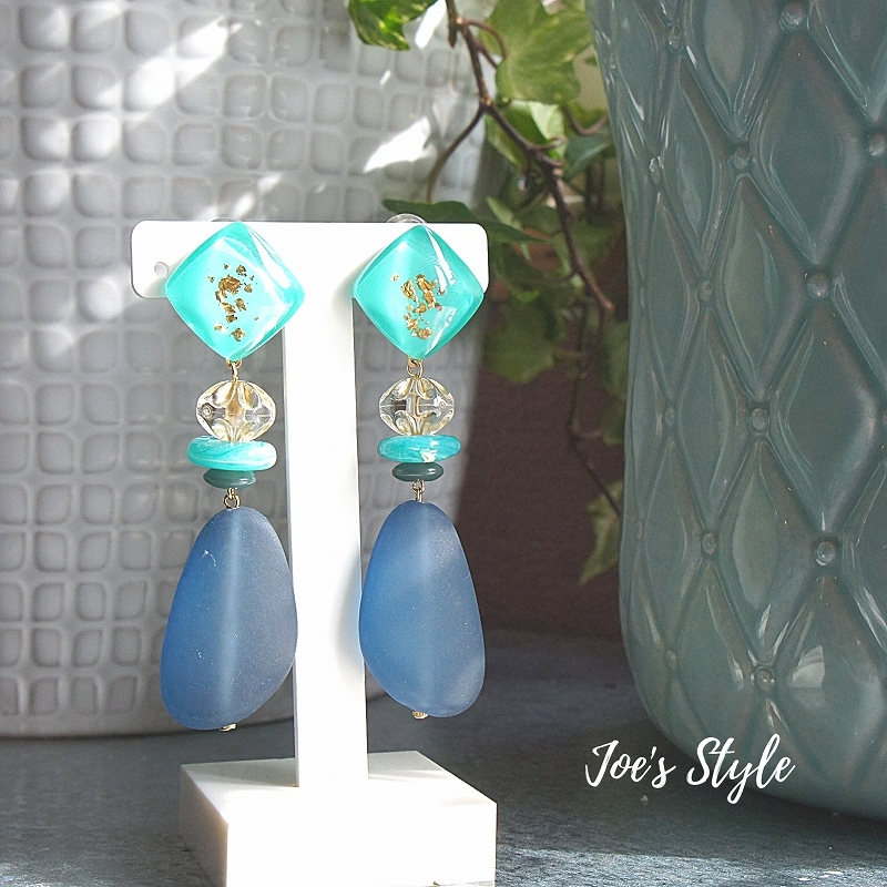 """"""" Earrings NO.238-866″ Blue Paint &箔"""