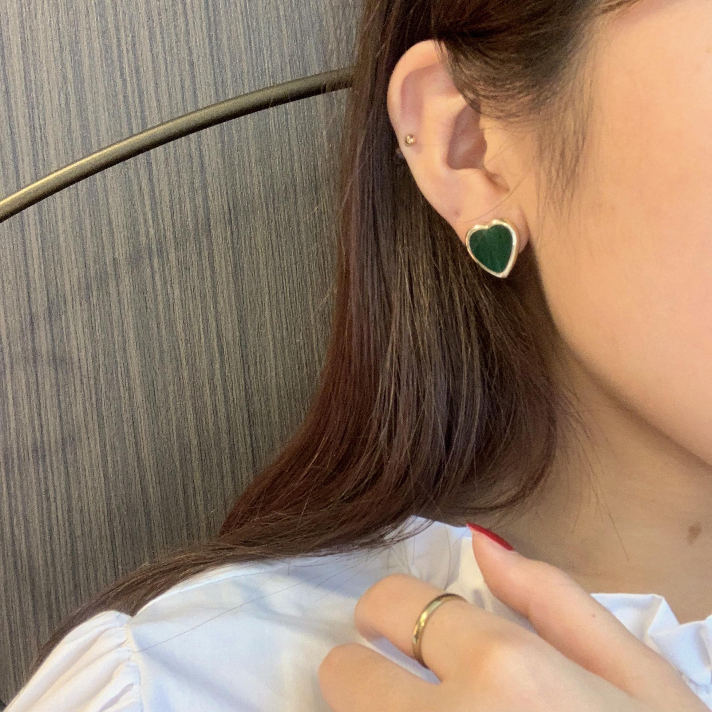 heart stone earring