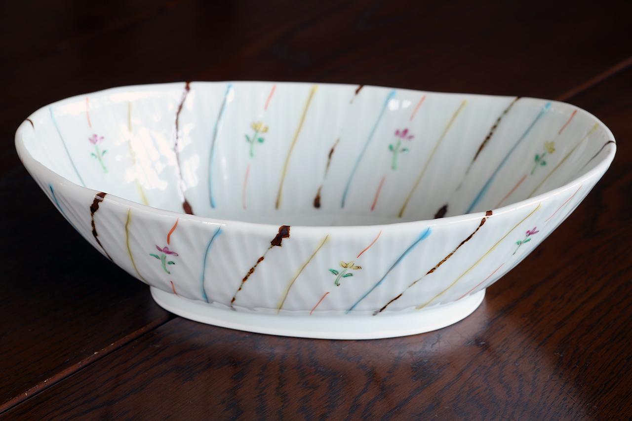 藍水 小花ストライプ 楕円鉢 うつわ藍水 波佐見焼