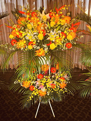 st015 スタンド花 オレンジ系2段