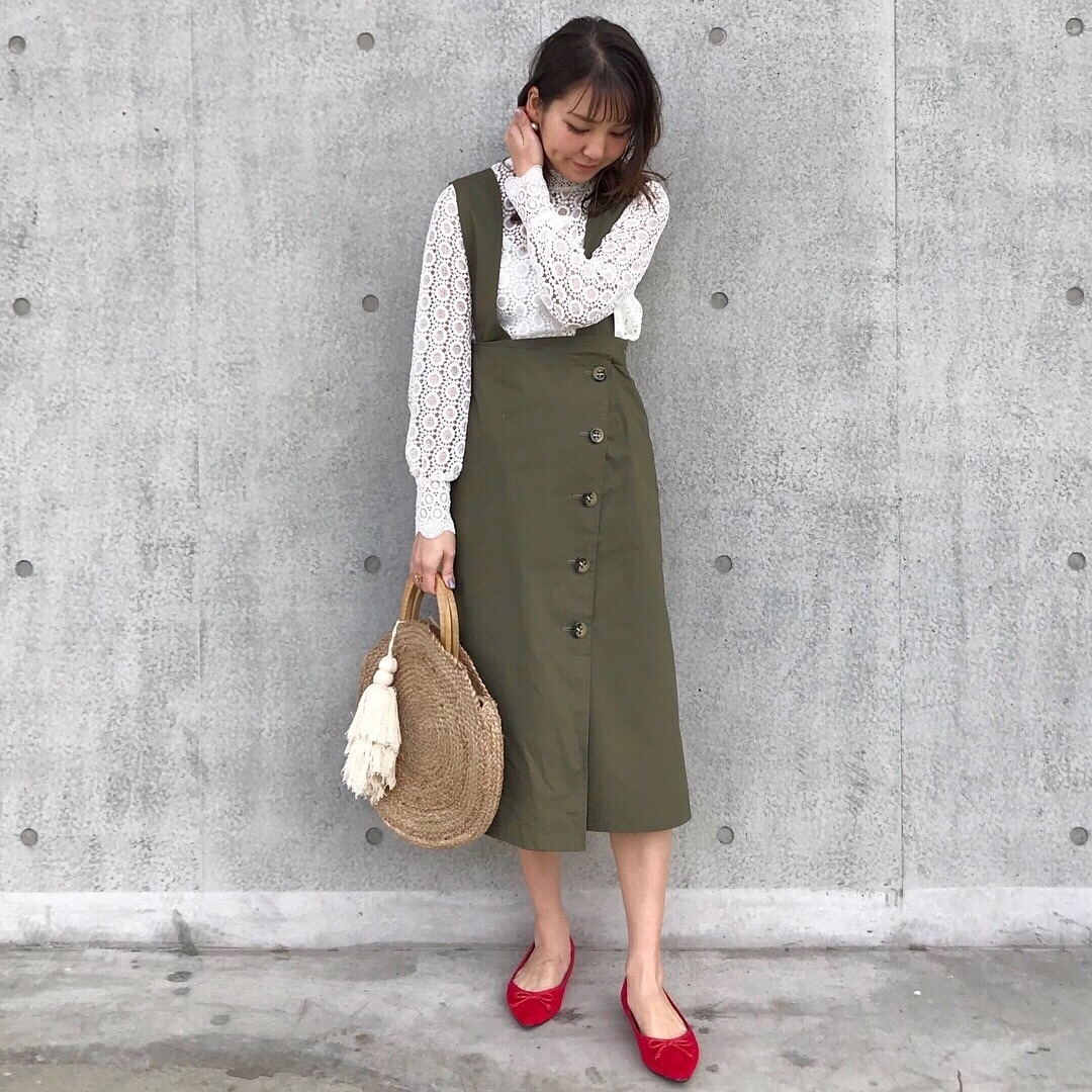 KU-UM×yuko,natsu,junko 3wayジャンパースカート  カーキ