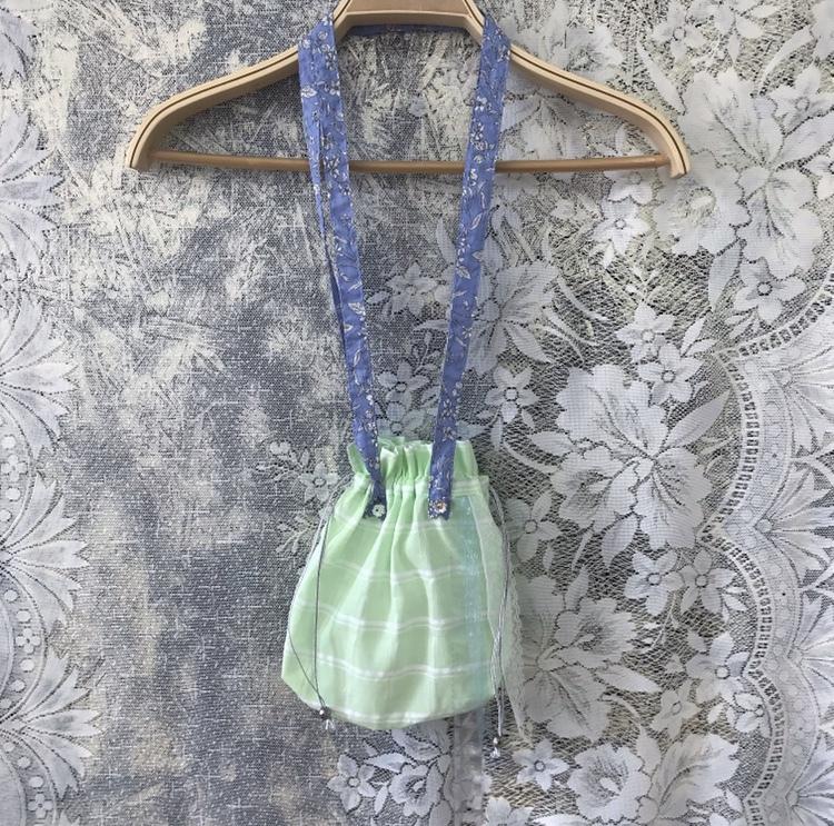 巾着ポシェット〈green×blue〉