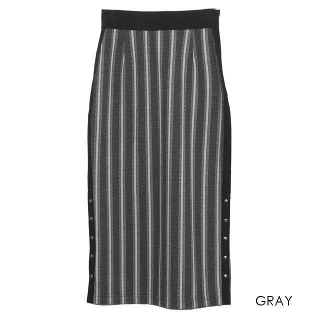 COOLA ストライプサイドスリットタイトスカート