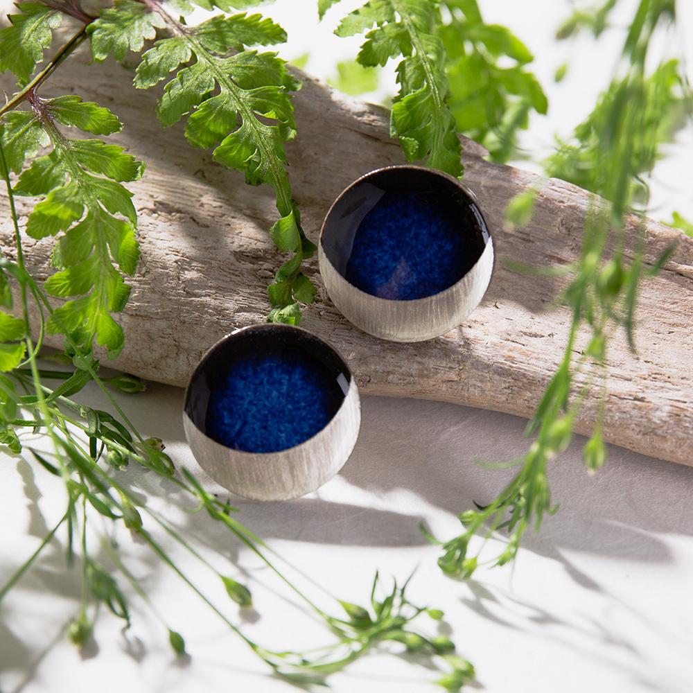 陶器 藍色 丸 イヤリング&ピアス 三日月 美濃焼 伝統工芸