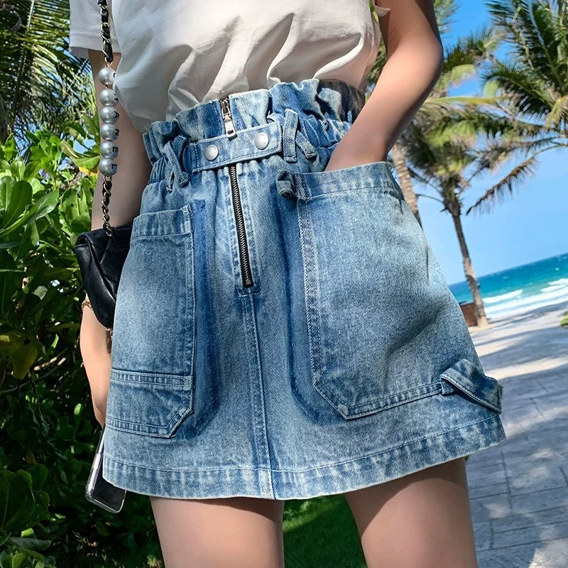 cross belt denim skirt