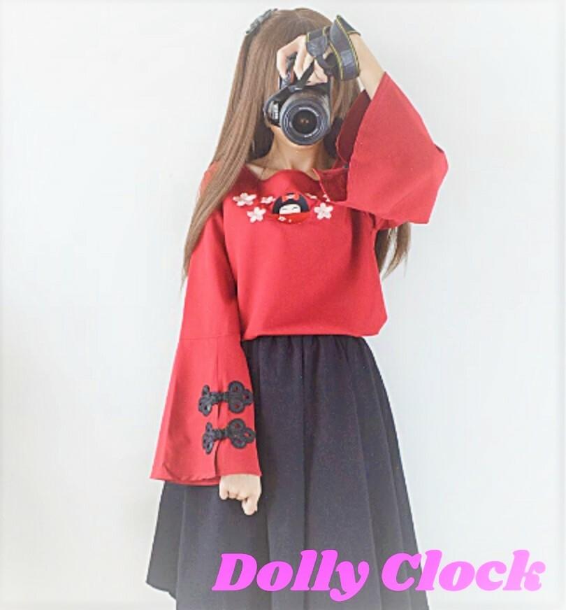 【在庫限り】桜刺繍チャイナブラウスドレス