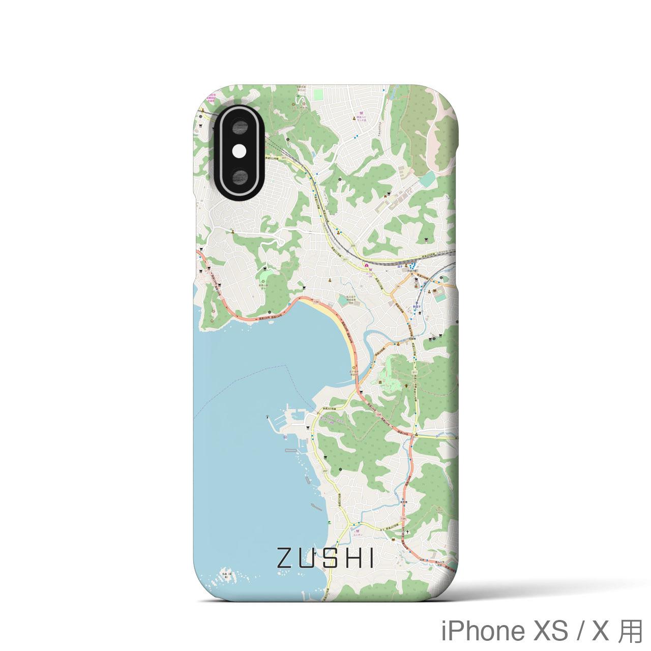 【逗子】地図柄iPhoneケース(バックカバータイプ・ナチュラル)
