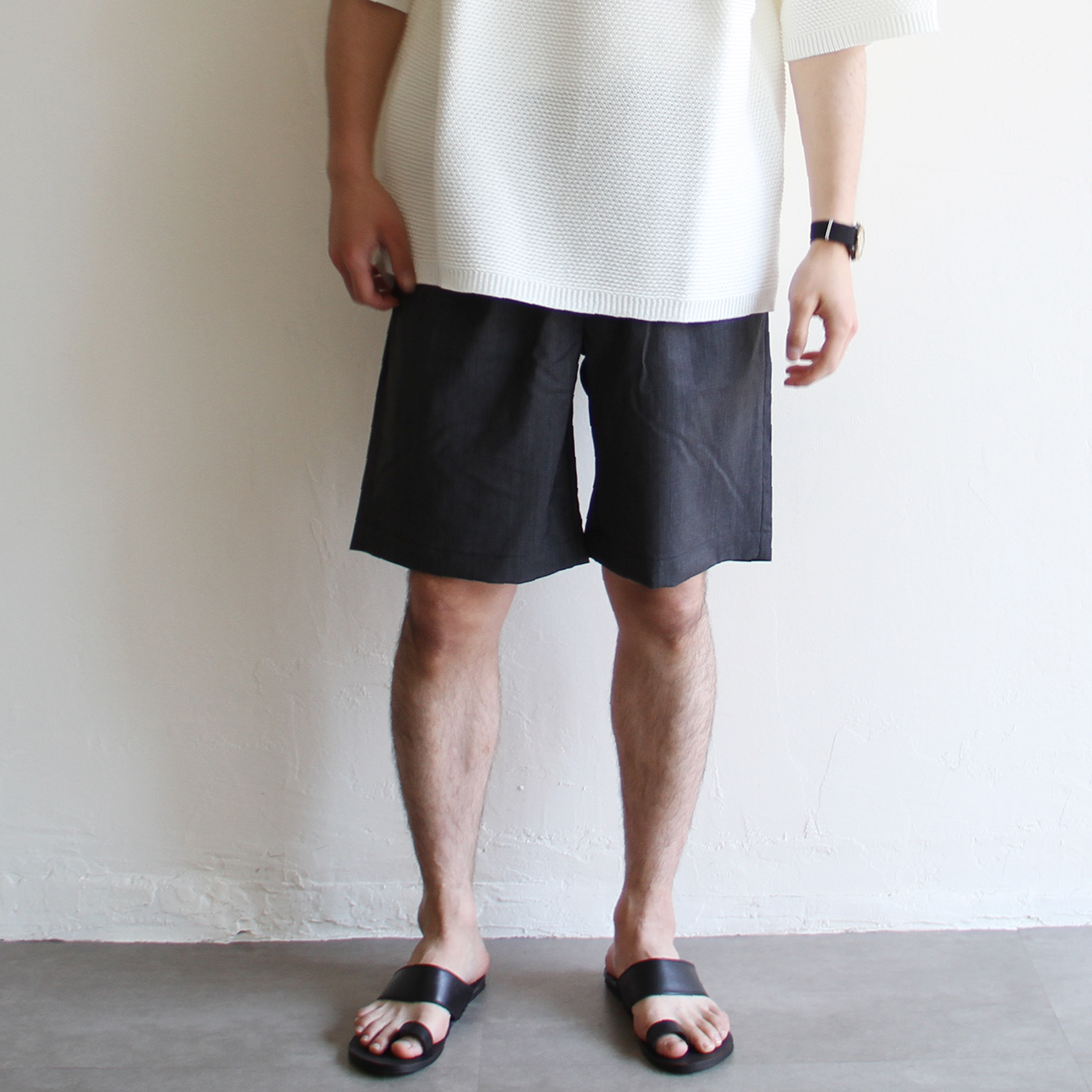 STILL BY HAND【 mens 】easy shorts