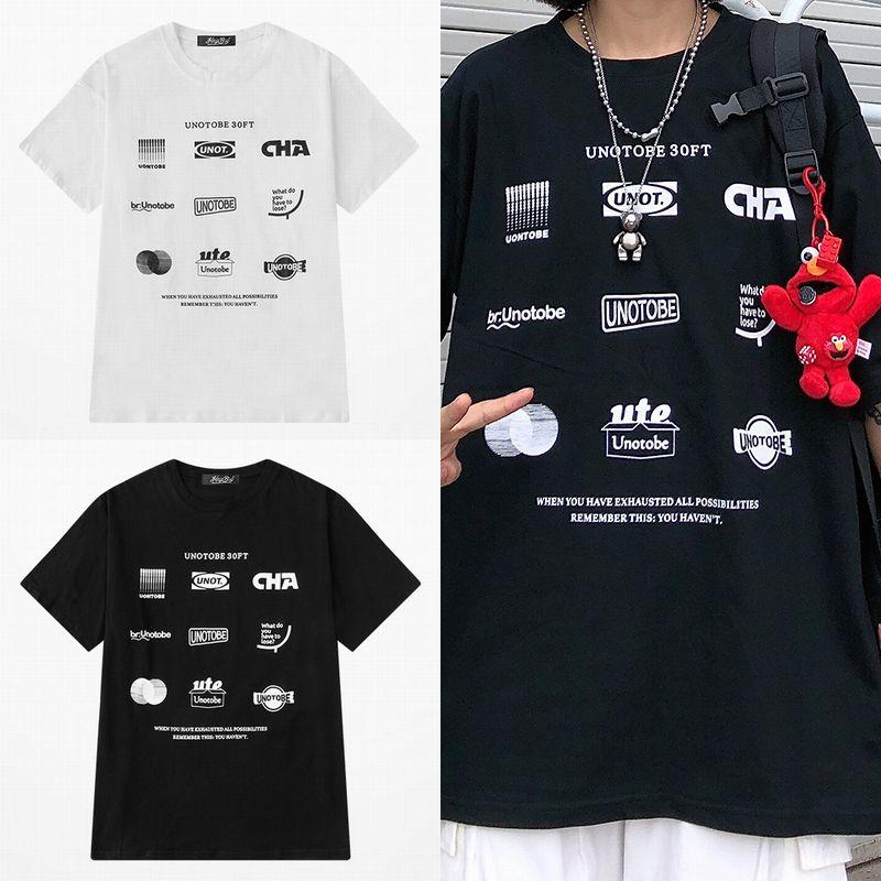 ユニセックス Tシャツ 半袖 メンズ レディース ラウンドネック シンプル プリント オーバーサイズ 大きいサイズ ルーズ ストリート