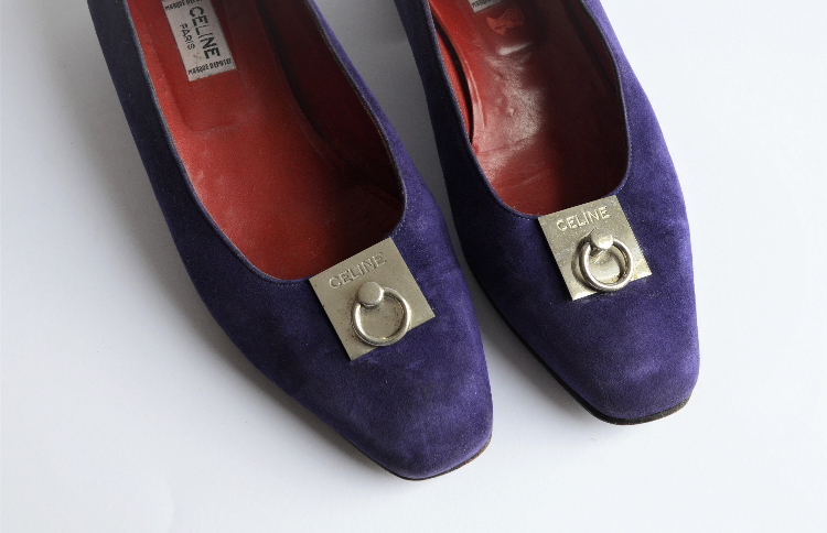 e8503588b1a2 Vintage CELINE purple suede shoes with red leather interior ヴィンテージ セリーヌ  ヴィンテージセリーヌ 靴 シューズ パンプス スエード パープル vt