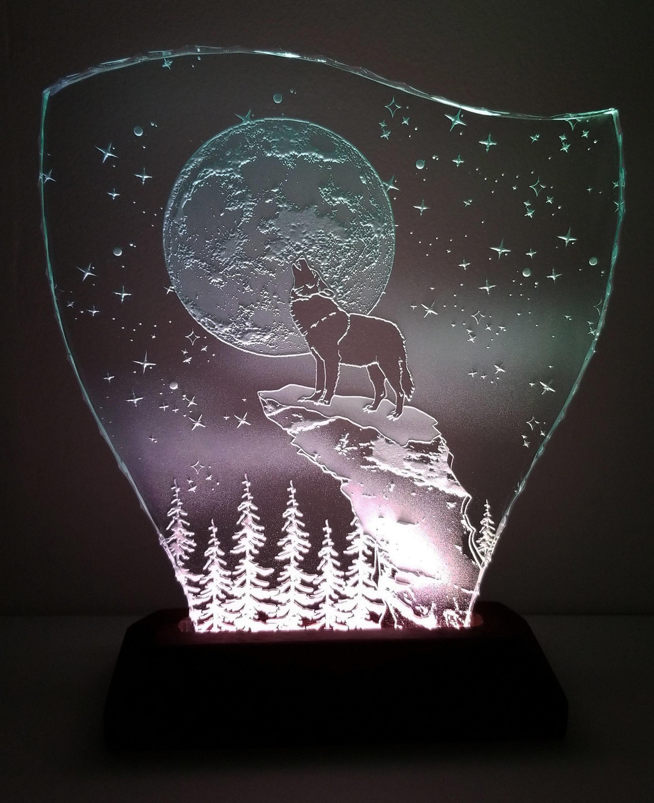 星月夜・オオカミ エッチングパネル Mサイズ・LEDスタンドセット