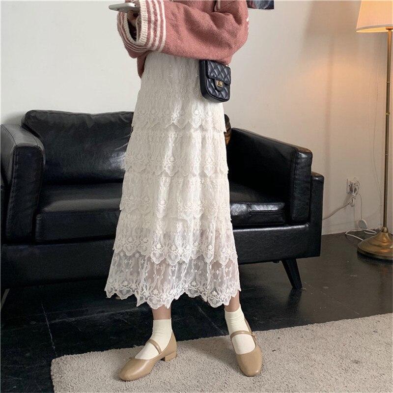 【即納】ティアードレーススカート