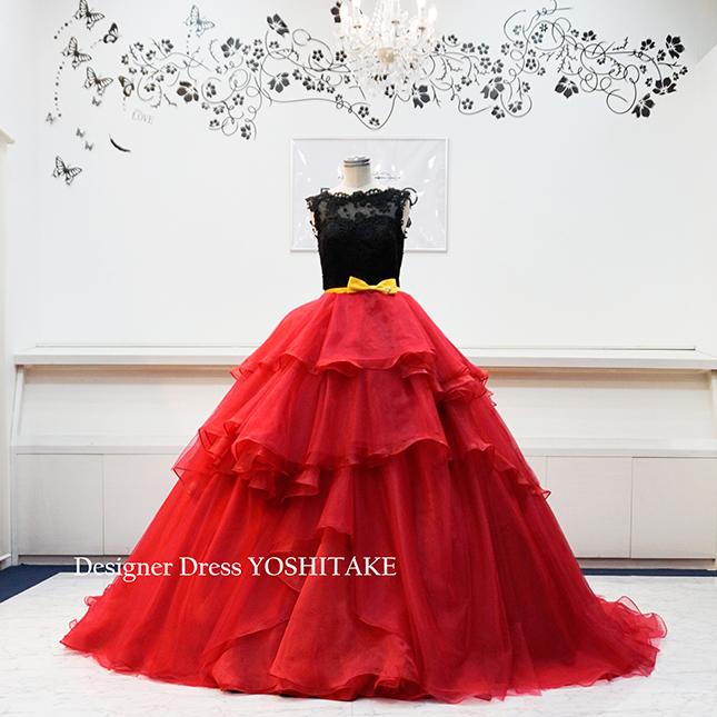【オーダー制作】ウエディングドレス(六本ワイヤーパニエ) 赤黒ドレス 披露宴/お色直し/二次会/前撮り ※制作期間3週間から6週間