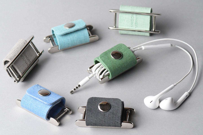 イヤホンコードホルダー □アボカドグリーン□ イタリアンレザー earphone cord holder - 画像4