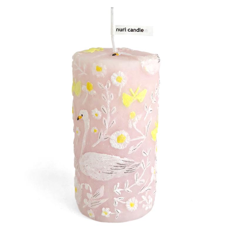 蝶と白鳥のキャンドル J  ピンク円柱形(nuriキャンドル)