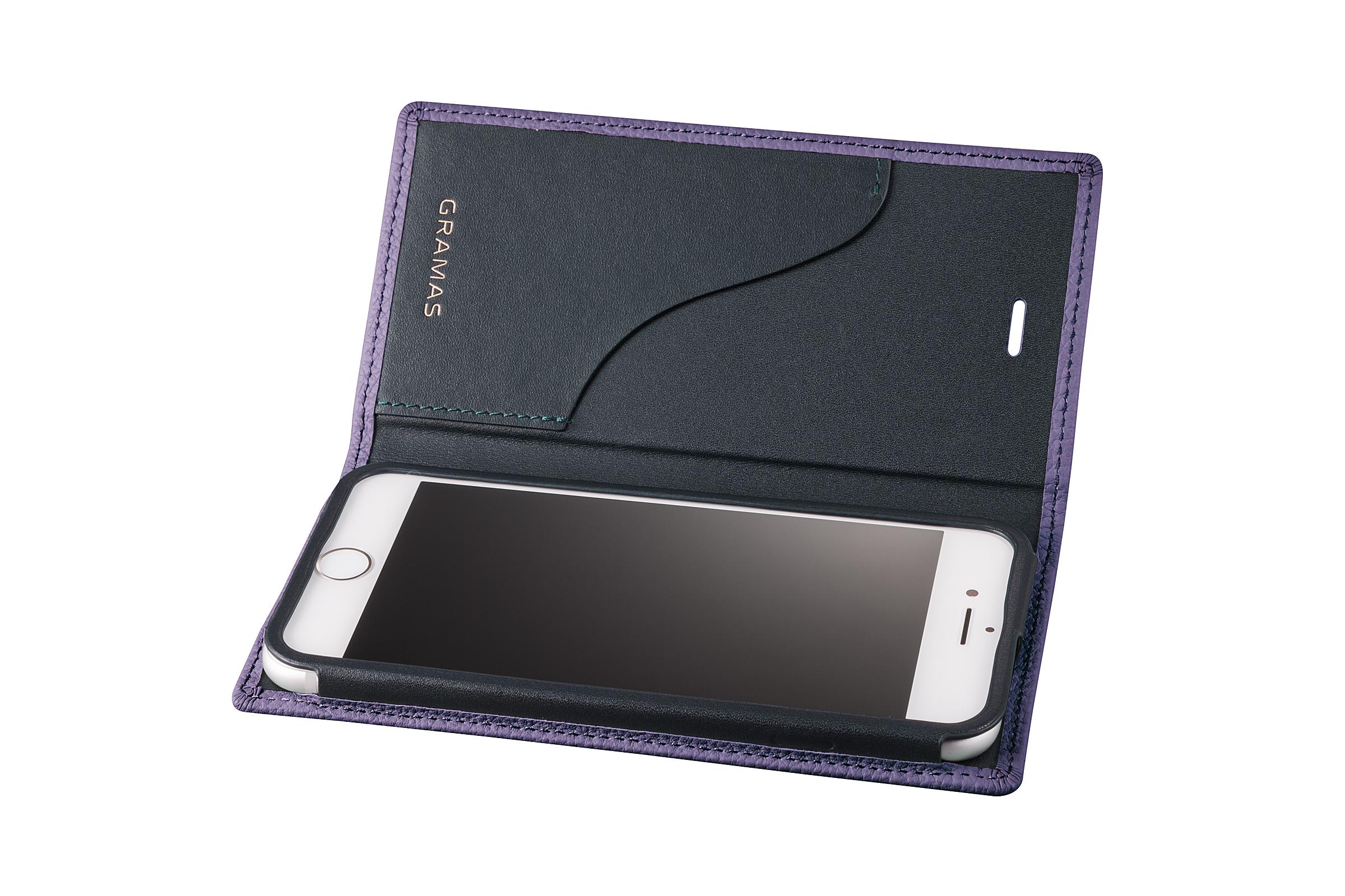 GRAMAS Shrunken-calf Full Leather Case for iPhone 7(Purple) シュランケンカーフ 手帳型フルレザーケース GLC646PR - 画像3