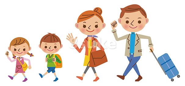 イラスト素材:旅行・帰省する4人家族(ベクター・JPG)
