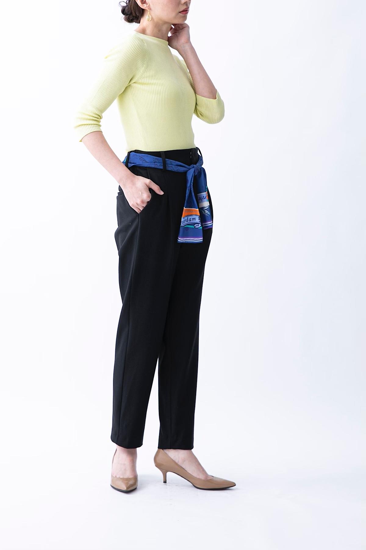 ソフトサーモパンツ(スカーフベルト付) 4色:ブラック