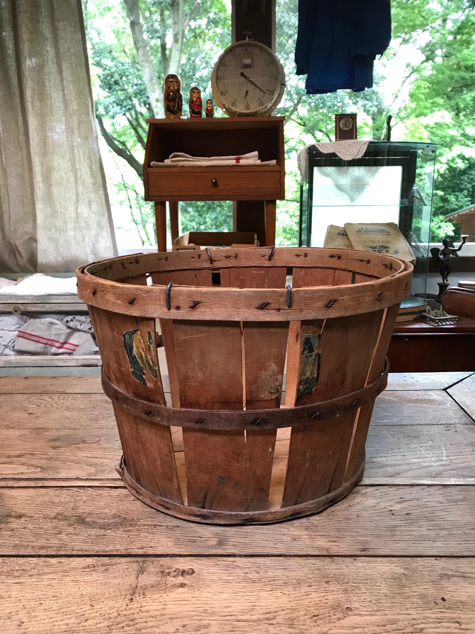 アメリカ ヴィンテージ 木製 かご バスケット
