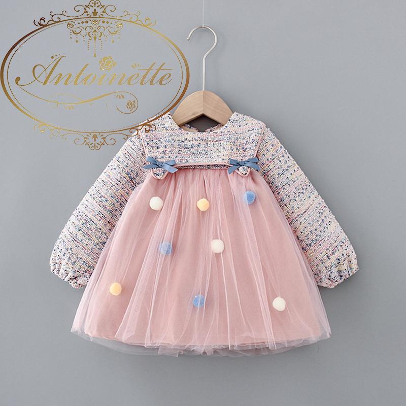 Sweet Winter Girls Dress Kids Princess Balls Dress Children Baby Infants Long Sleeve Velvet Thicken Fairy Dresses