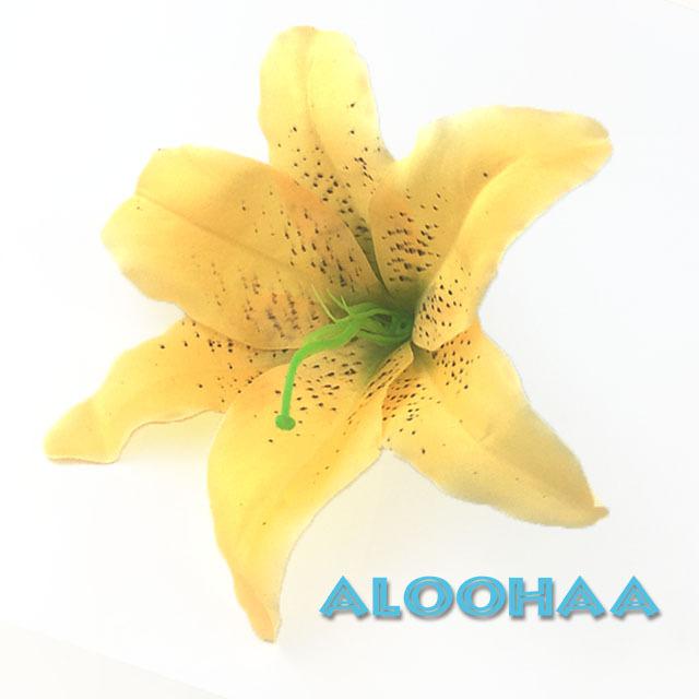 ユリ シングル【黄色】#10-004YE-CT#  ヘアクリップ付き ヘアアクセサリー フラダンス 衣装 髪飾り