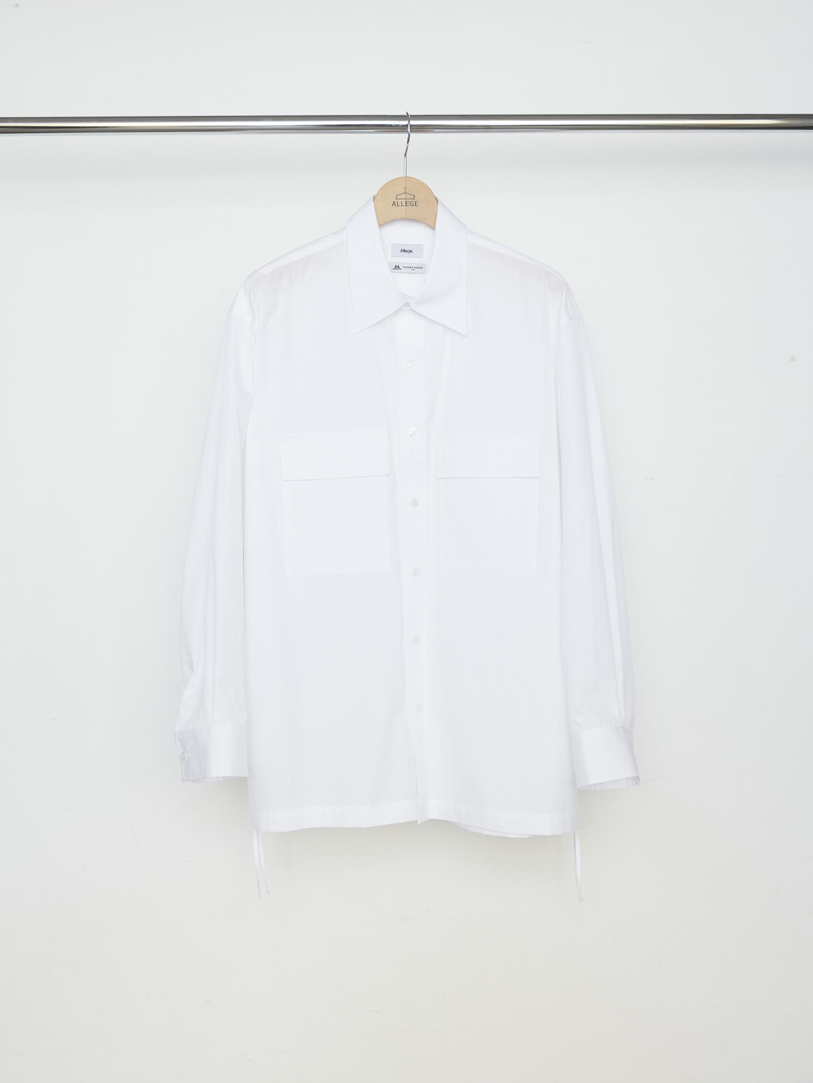 W Pocket Gather Shirt - WHITE