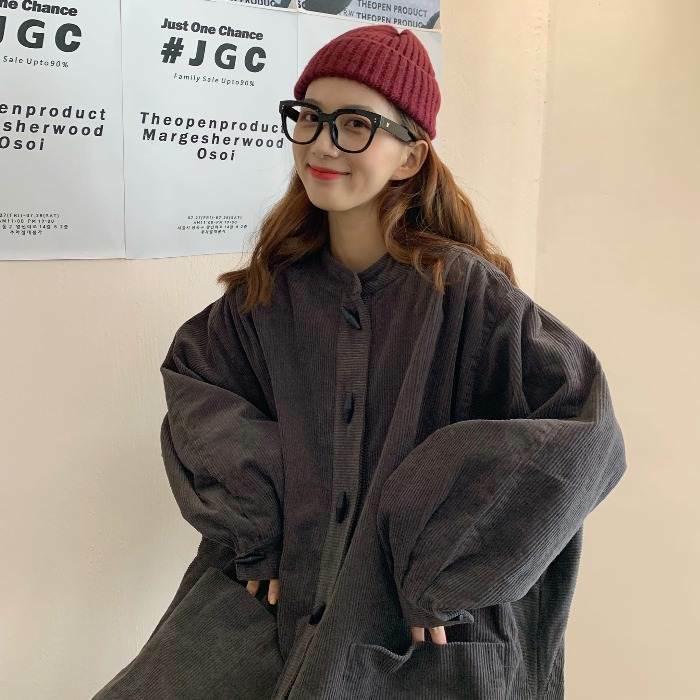 【送料無料】ゆるだぼ ♡ カジュアル ノーカラー オーバーサイズ Aライン コーデュロイ シャツ 羽織り アウター