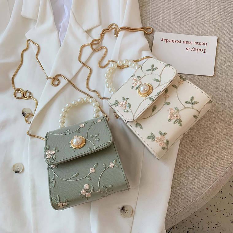 【送料無料】大人フェミニン ♡ 刺繍 花柄 大人可愛い きれいめ レトロ パール チェーン ミニ ショルダー バッグ カバン