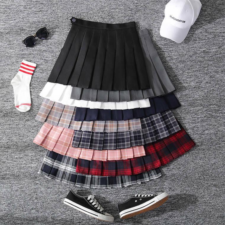 【送料無料】カラバリ豊富 ♡ チェック柄 無地 ガーリー スクール プリーツ ミニ スカート