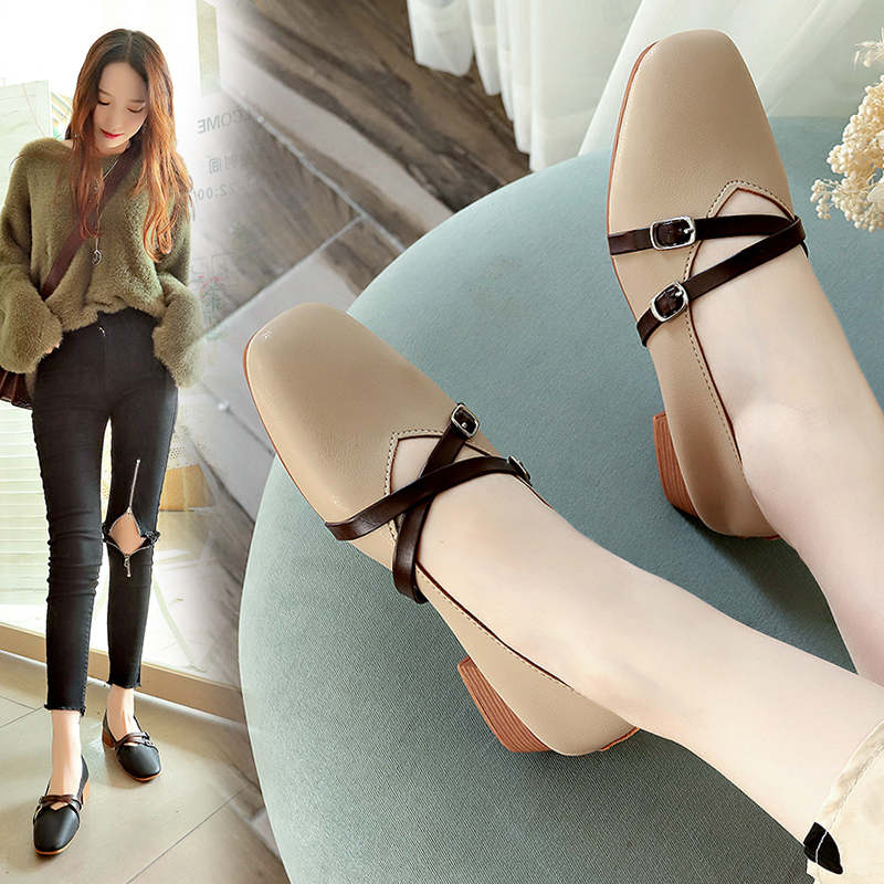 【shoes】ファッションスクエアトゥミドルヒールパンプス18779712