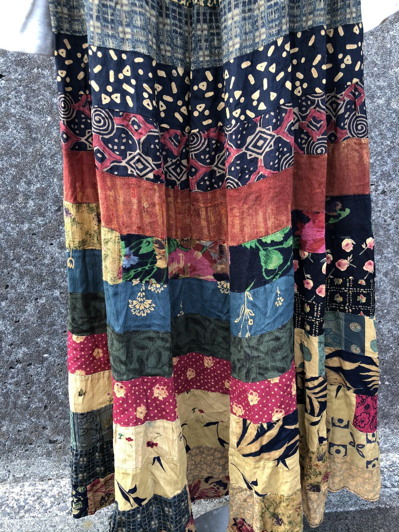 mix fabric rayon long skirt