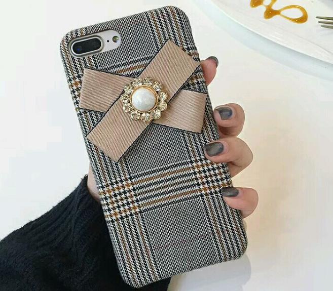 【お取り寄せ商品、送料無料】グレンチェックのケースにリボン付iPhoneケース