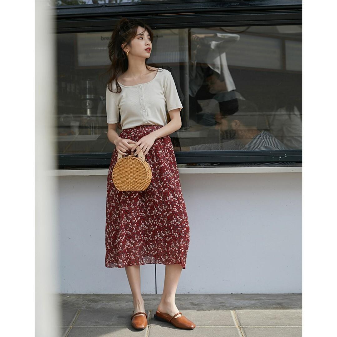 【送料無料】夏コーデ ロングスカート フレア シフォン レディース 花柄 B19080601