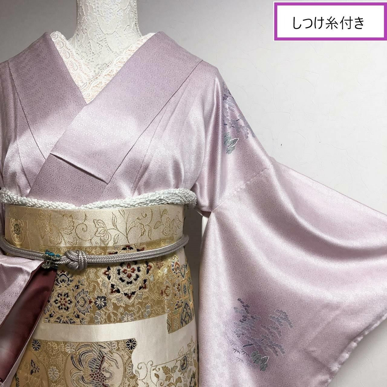 【しつけ付き】未着用 華やか付下げ 屋敷に松梅季節の草花 薄紫色 丈164裄65