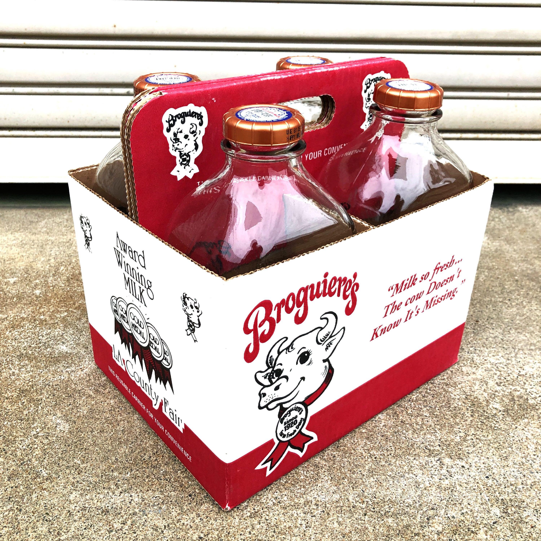 品番0029 Broguiere's ブロギエール 64 FL OZ ミルク瓶 4本セット 元箱付 空瓶 ミルクボトル ヴィンテージ