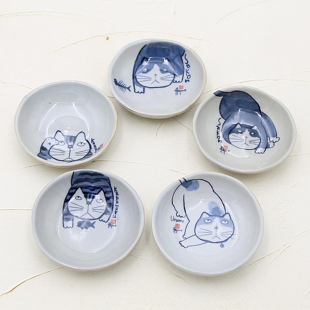 猫皿(やんちゃ猫小皿揃)5枚組