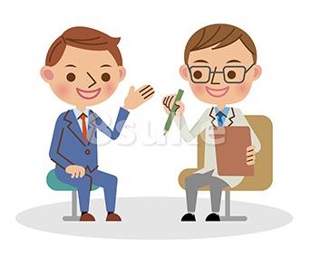 イラスト素材:医者と会話するビジネスマン(ベクター・JPG)