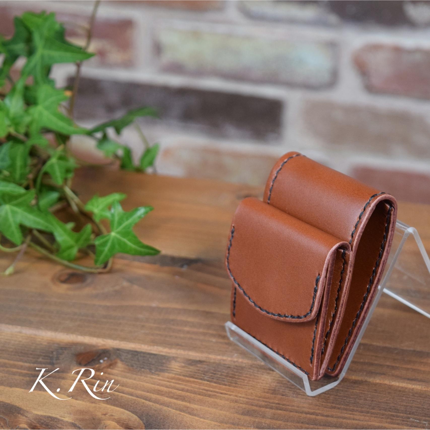 【オーダーメイド制作例】小さな 小さな 2つ折り財布  (KA102b3)