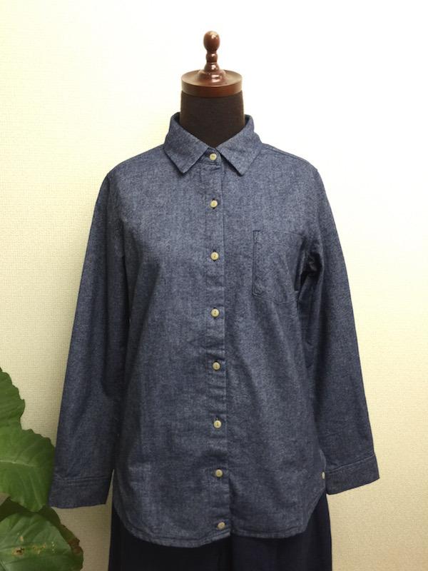 INDIGOネル無地カシュクールシャツ<レディース>CFLD1513KS-29A:INDIGOxWHITE ¥7,900⇒¥3,950  SALE!!!