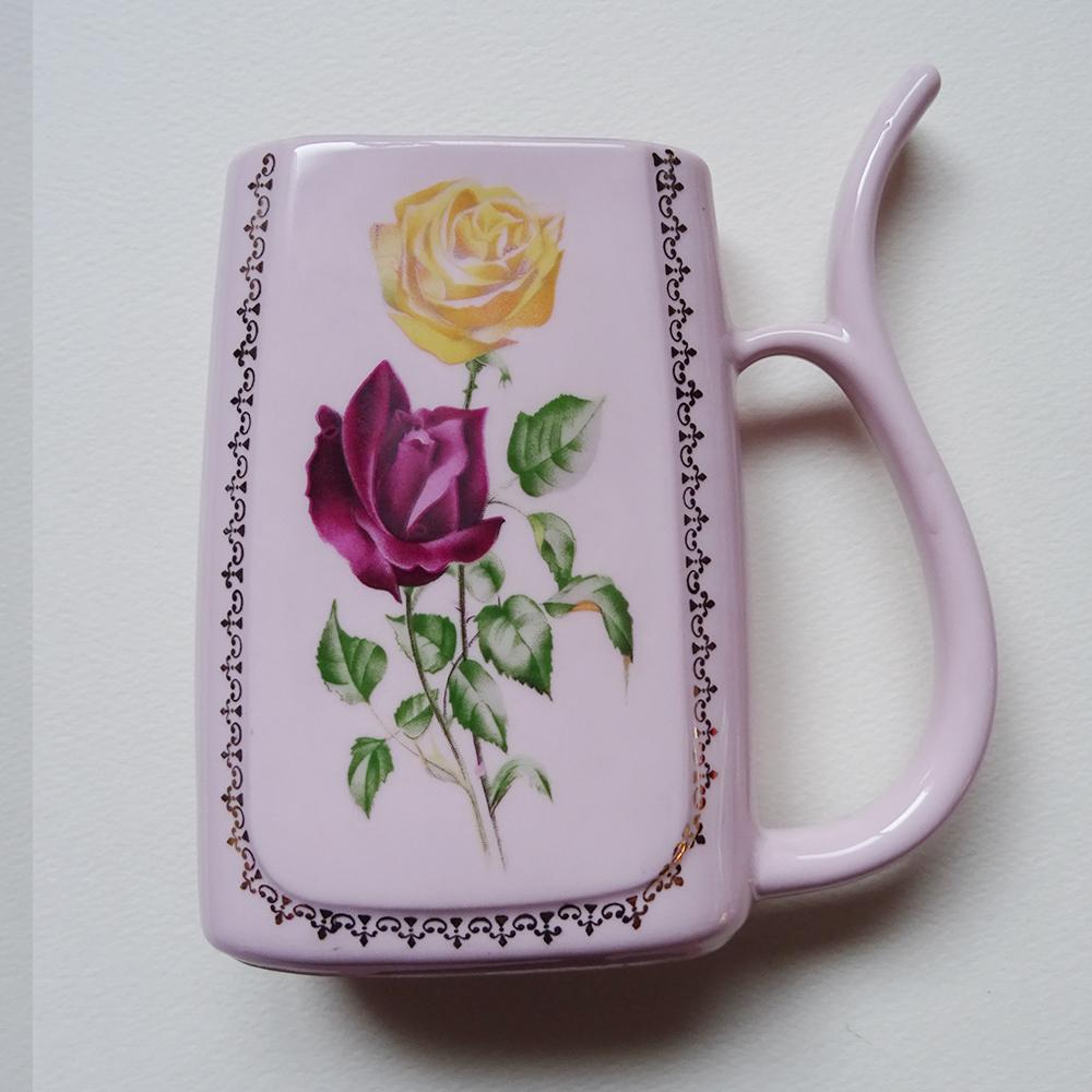 チェコ ピンクポーセリン 薔薇柄の水差し