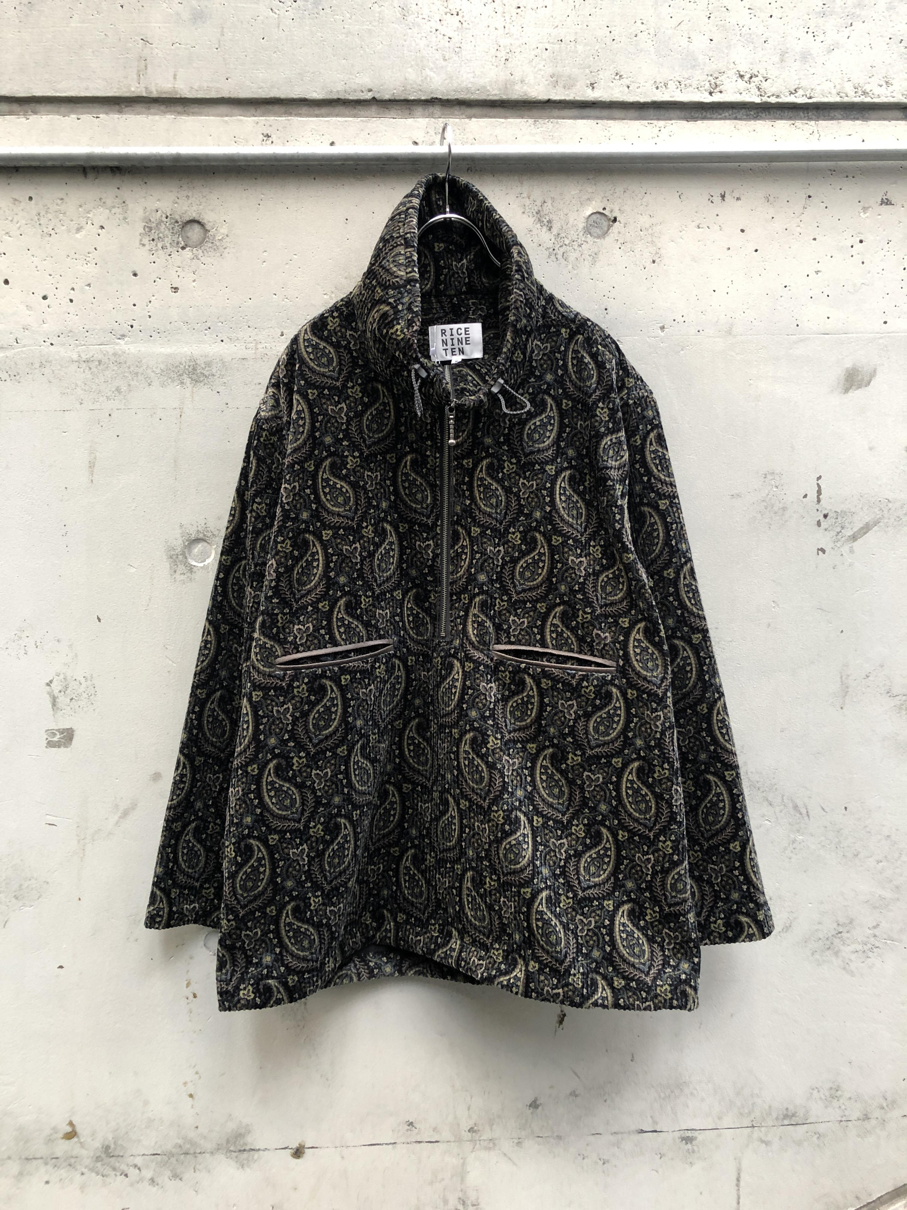 『RICE NINE TEN』paisley zip pullover / BLACK