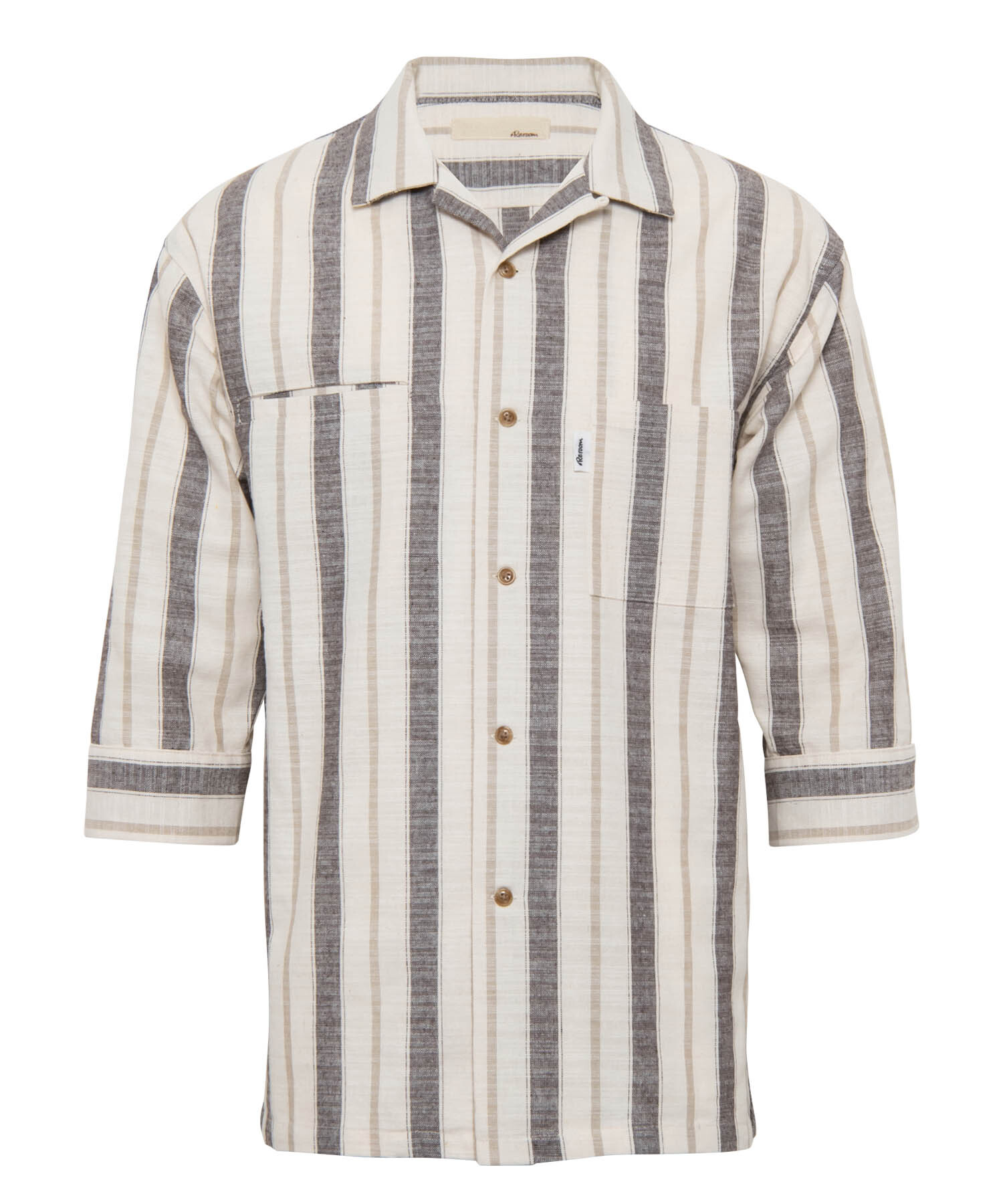MULTI STRIPE COTTON OPEN COLLAR SHIRTS[RES053]