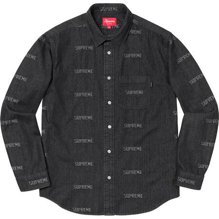 Supreme Logo Denim Shirt Black