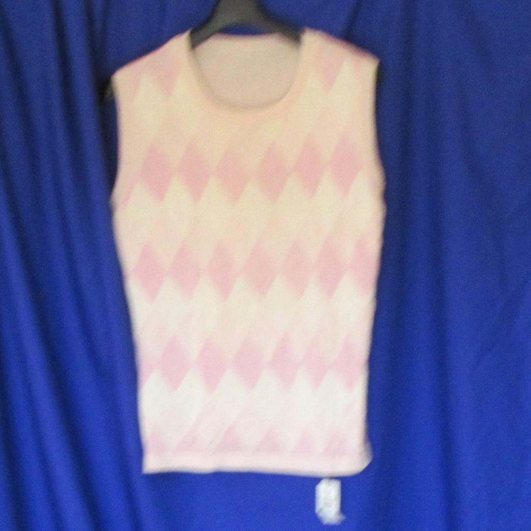 シルク ベスト アーガイル柄  ピンク 新品 Lサイズ
