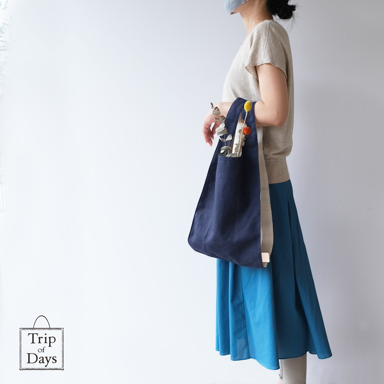 one mile bag   size L2   紺 × 白