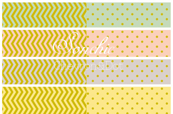 【割引】シェブロン&ドット転写紙 4色セット(ポーセリンアート ギザギザ水玉)