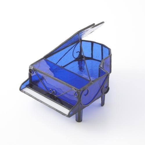 小物入れ オシャレ ステンドグラス ピアノ 型 ステンドガラス ガラス製 アクセサリーケース オブジェ ジュエリーボックス 小箱 宝石箱