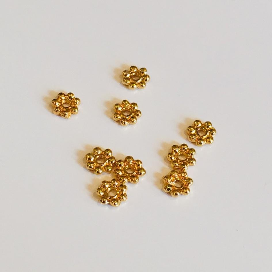 花型ビーズキャップゴールド 約4mm 9個セット
