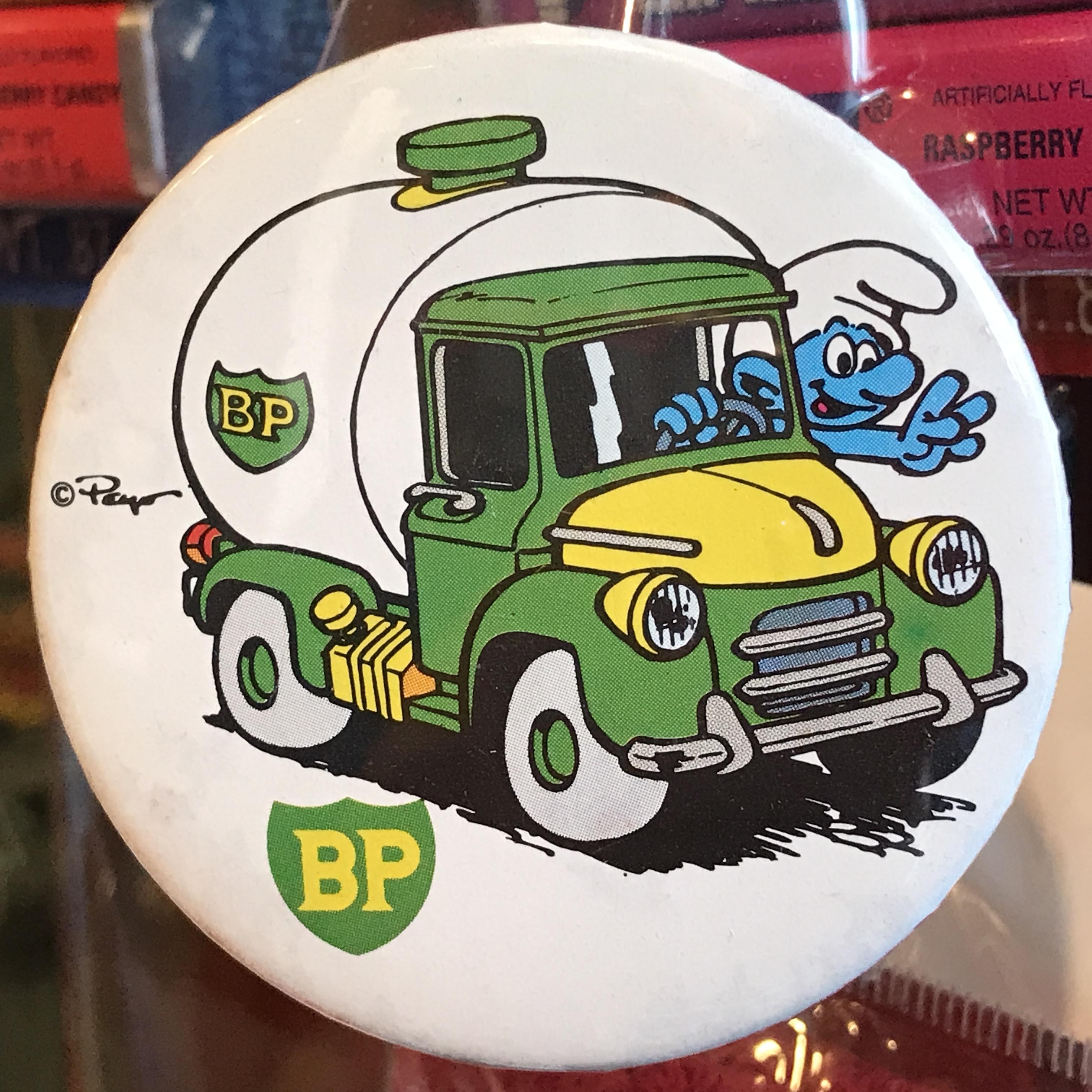 スマーフ 80's BP 企業物 オールド 缶バッジ トラックver.